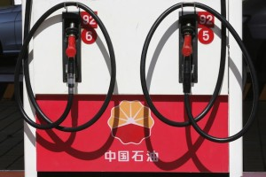 File photo of a PetroChina logo at its gas station in Beijing
