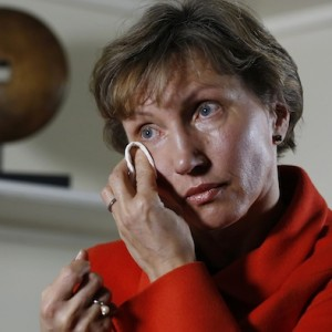 Marina Litvinenko, the wife of former KGB agent Alexander Litvinenko who was murdered in London in 2006, reacts during an interview with Reuters in London