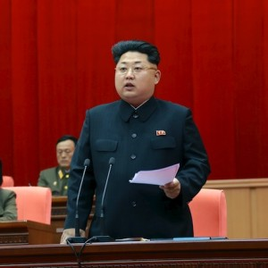 North Korean leader Kim speaks during the 5th meeting of training officers of the Korean People's Army in this undated photo released by KCNA in Pyongyang